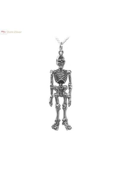 Zilveren skelet hanger
