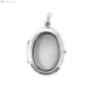 ZilverVoorJou Zilveren ovale medaillon met glazen voor en achterkant