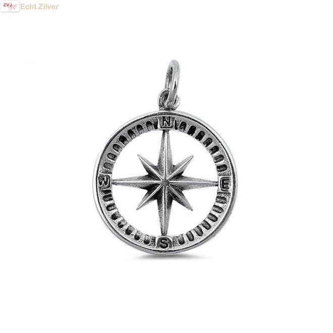 Zilveren kompas kettinghanger
