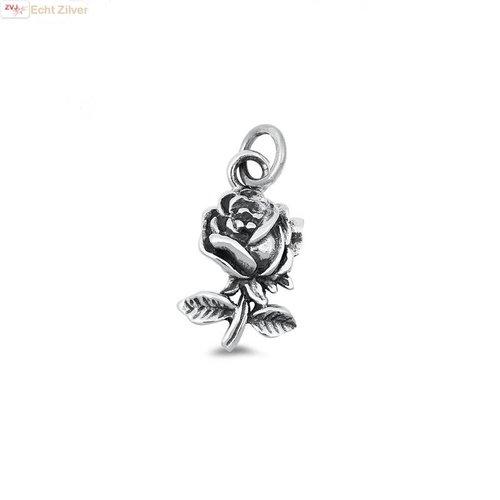 ZilverVoorJou Zilveren roos hangertje
