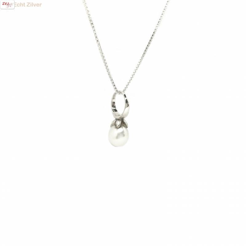 Zilveren  zoetwaterparel kettinghanger-1
