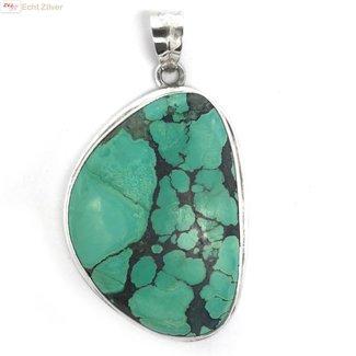 ZilverVoorJou Zilveren handgemaakt grote turkoois turquoise kettinghanger