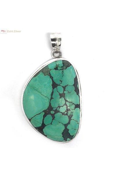 Zilveren handgemaakt grote turkoois turquoise kettinghanger
