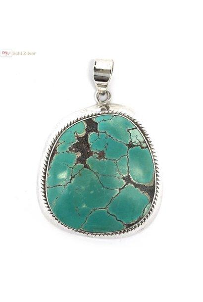 Zilveren handgemaakt grote turquoise turkoois kettinghanger