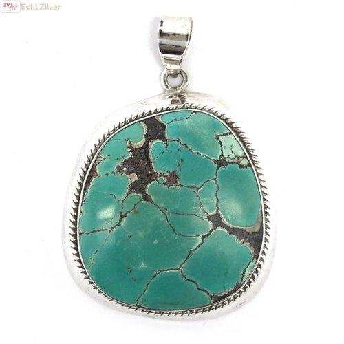 ZilverVoorJou Zilveren handgemaakt grote turquoise turkoois kettinghanger