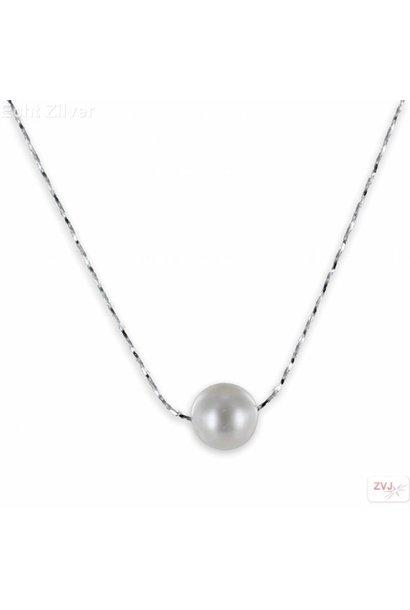 Zilveren fantasie collier met zoetwaterparel