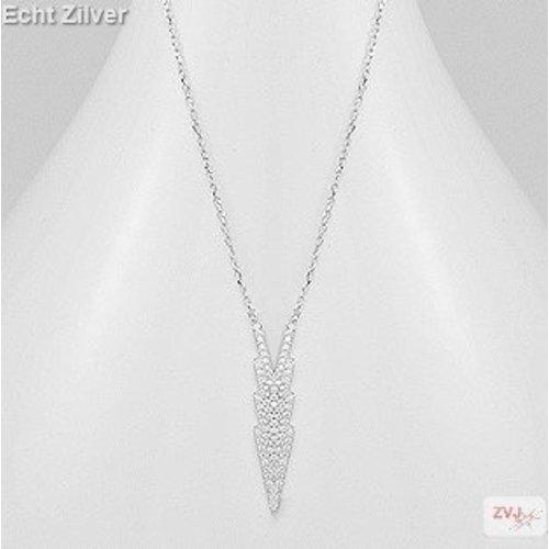 ZilverVoorJou Zilveren sierlijke ketting ingelegd met witte zirkonia