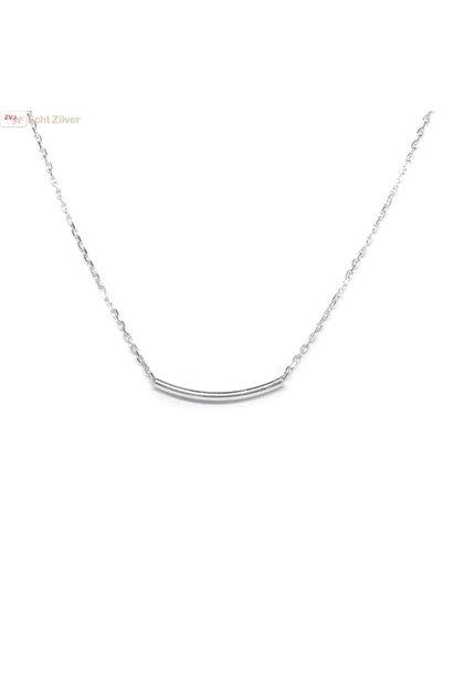 Zilveren kort strak koker, bar collier