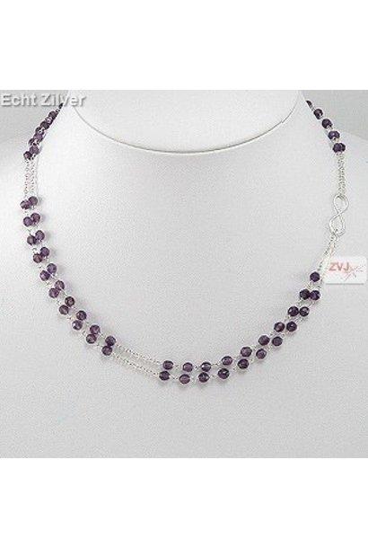 Zilveren 2 rijen paarse amethist edelsteen infinity collier
