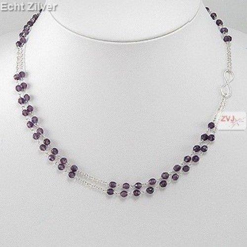 ZilverVoorJou Zilveren 2 rijen paarse amethist edelsteen infinity collier