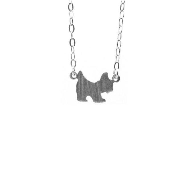 Zilveren collier met hond in mat zilver