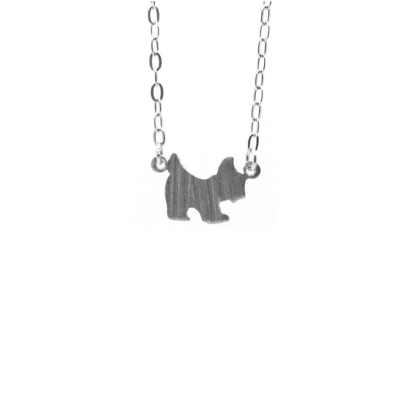 Zilveren collier met hond in mat zilver-1
