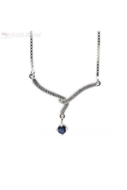 Zilveren luxe collier met blauw saffier