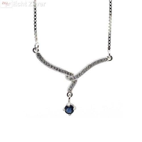 ZilverVoorJou Zilveren luxe collier met blauw saffier