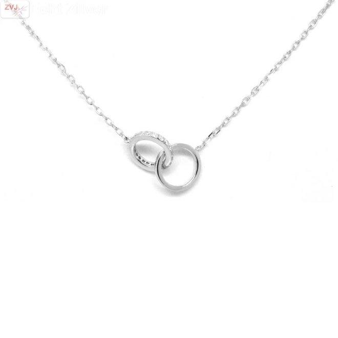 Zilveren rhodium cirkels zirkonia collier