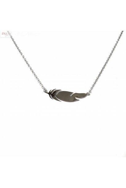 Zilveren veer feather collier