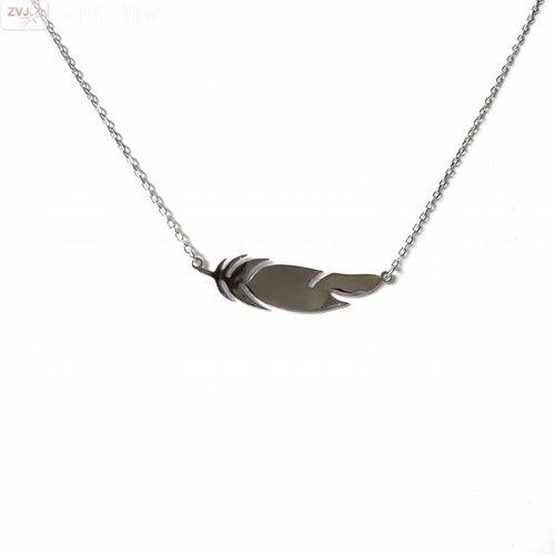 ZilverVoorJou Zilveren veer feather collier