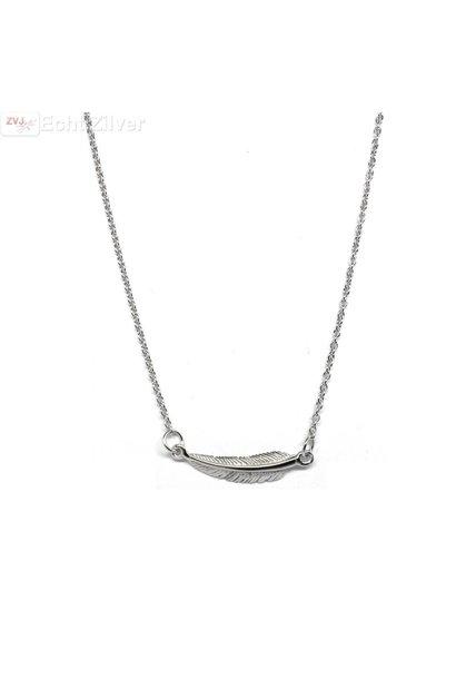 Zilveren veer collier