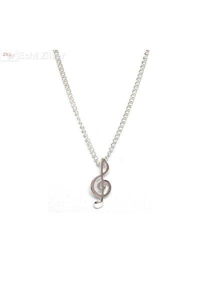 Zilveren muziek noot collier
