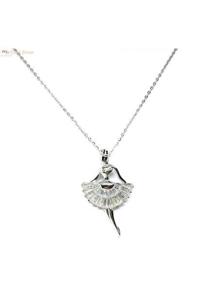 Zilveren witte zirkonia ballerina collier
