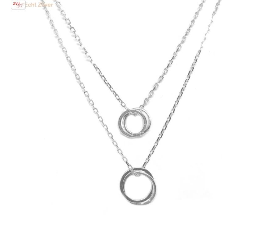 Zilveren vier cirkels layer collier