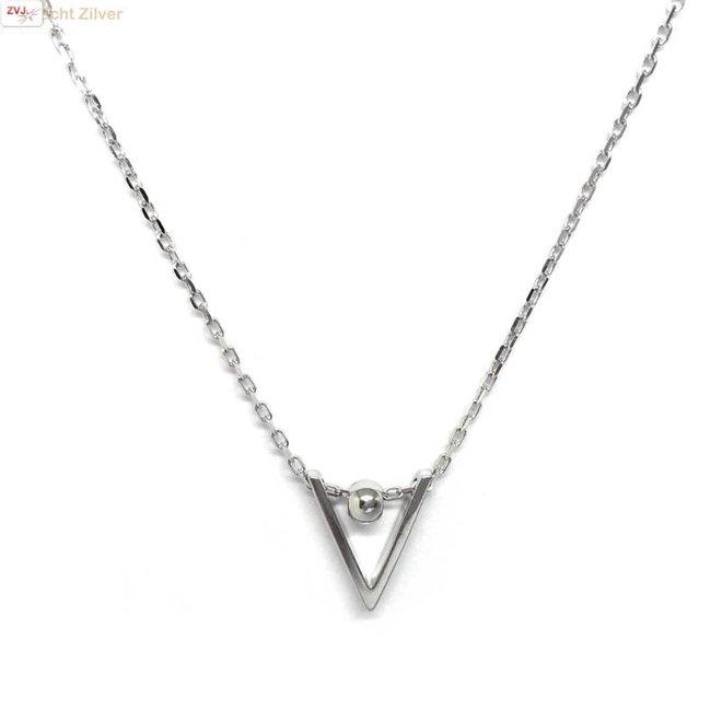Zilveren chevron V bal collier