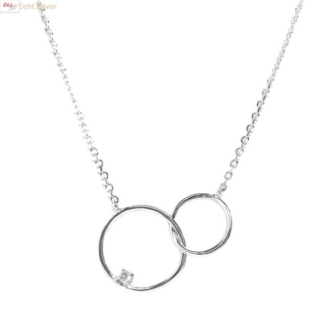 OUTLET karma Zilveren twee cirkels zirkonia collier