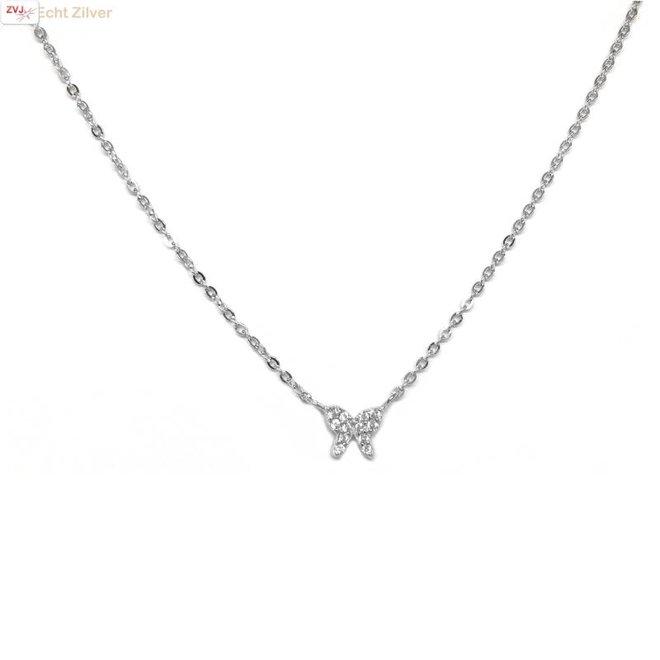 Zilveren vlinder collier