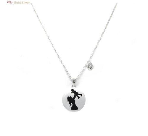ZilverVoorJou Zilveren collier met moeder kind hanger en hartje