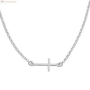 ZilverVoorJou Zilveren liggend kruis collier
