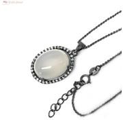 ZilverVoorJou Zilveren collier grote maansteen zwart rhodium