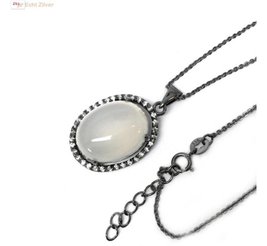 Zilveren collier grote maansteen zwart rhodium