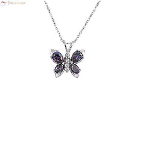 Zilveren collier mystiek topaas cz vlinder