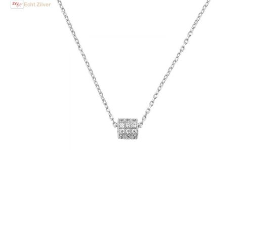 ZilverVoorJou Zilveren collier mini koker zirkoon hanger