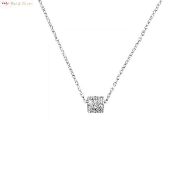 Zilveren collier mini koker zirkoon hanger