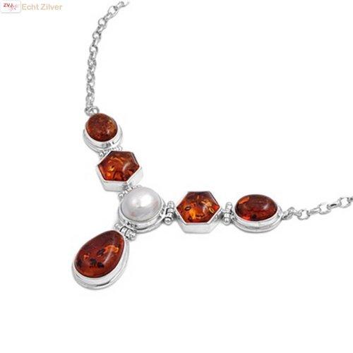 ZilverVoorJou Zilveren collier amber barnsteen mabe parel