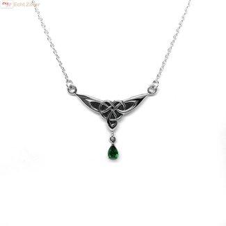 ZilverVoorJou Zilveren kort keltisch collier met groene steen