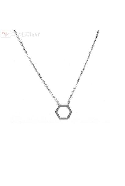 Zilveren hexagon collier