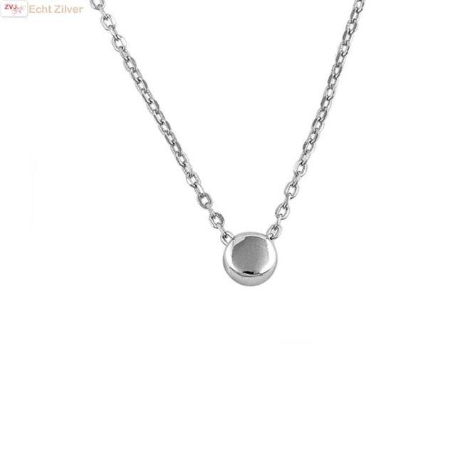 Zilveren collier silver drop, rondje