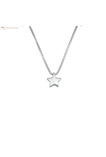 Zilveren collier silver star, ster