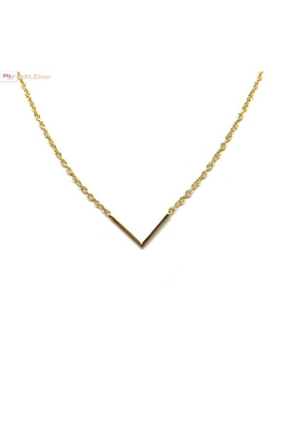 Goud op zilver  V chevron collier