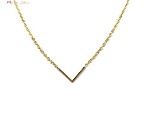 ZilverVoorJou Goud op zilver  V chevron collier