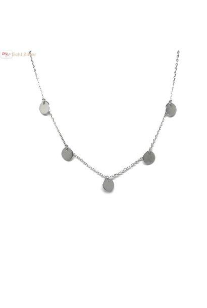 Zilveren collier met 5 zilveren cirkeltjes