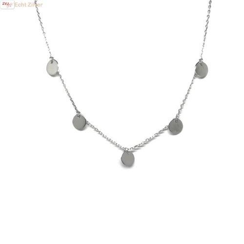 ZilverVoorJou Zilveren collier met 5 zilveren cirkeltjes