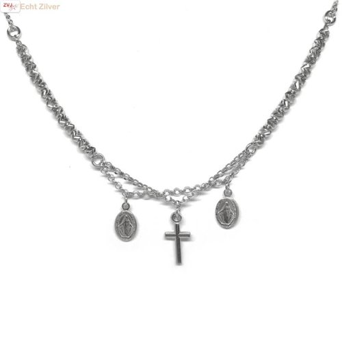 ZilverVoorJou Zilveren kruis scapulier rhodium collier