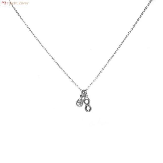 Zilveren collier  infinity druppel cz wit