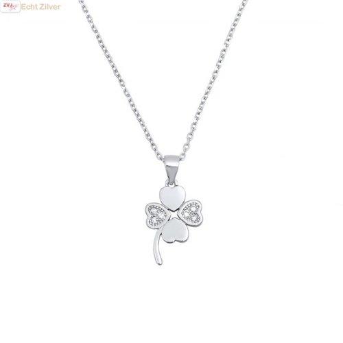 ZilverVoorJou Zilveren klavertje 4 witte zirkoon collier