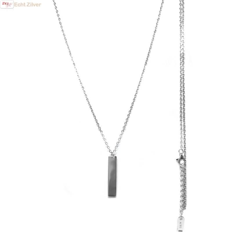 Zilveren lang collier met bar hanger-1