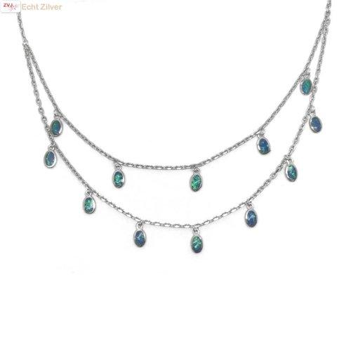 ZilverVoorJou Zilveren blauwe opaal lagen collier