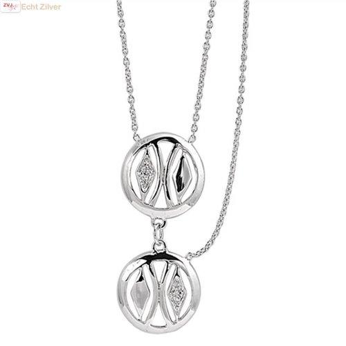 ZilverVoorJou Zilveren collier met 2 cirkels en extra halve ketting